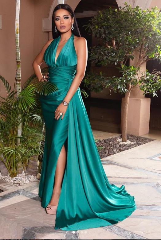 رحمة رياض ترتدي الفستان الأخضر صورة من انستقرامها الخاص @rahmariadh