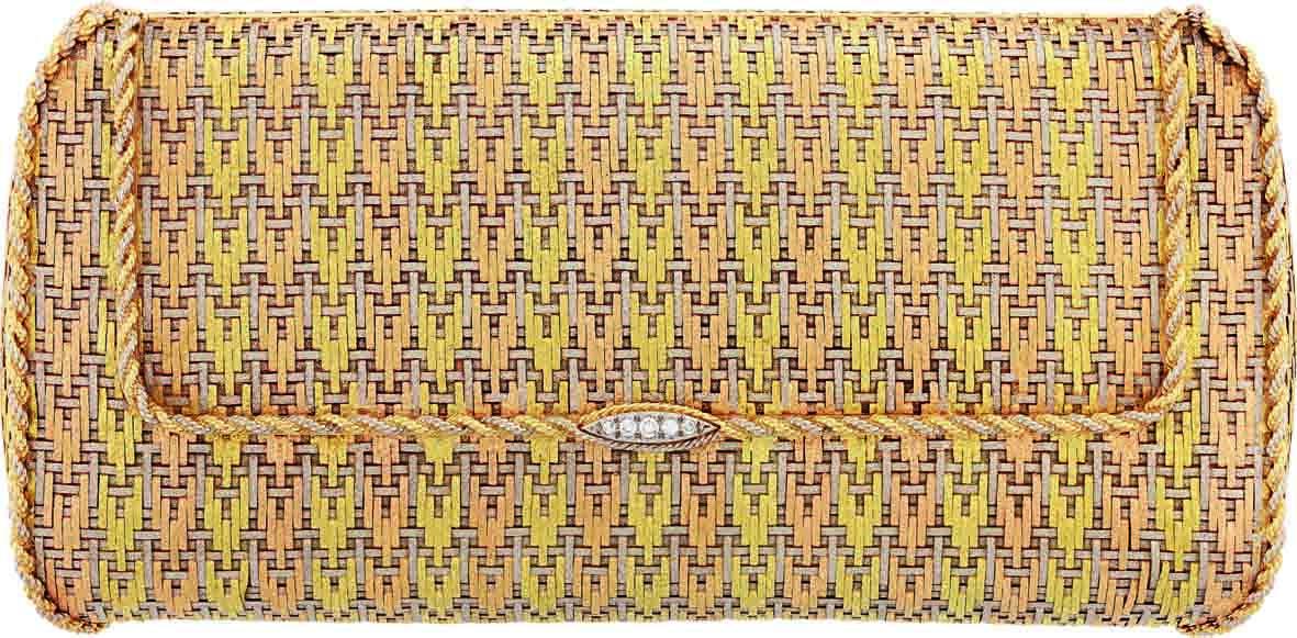 حقيبة مسائية، 1972 بلاتين، ذهب أصفر، ذهب وردي، ماس
