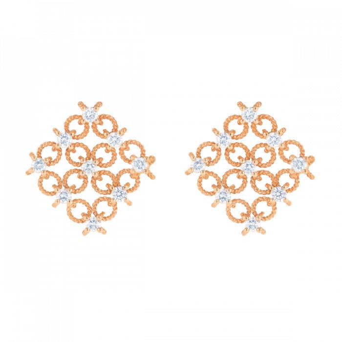 أقراط مربعة بالألماس والذهب الوردي من داماس Damas