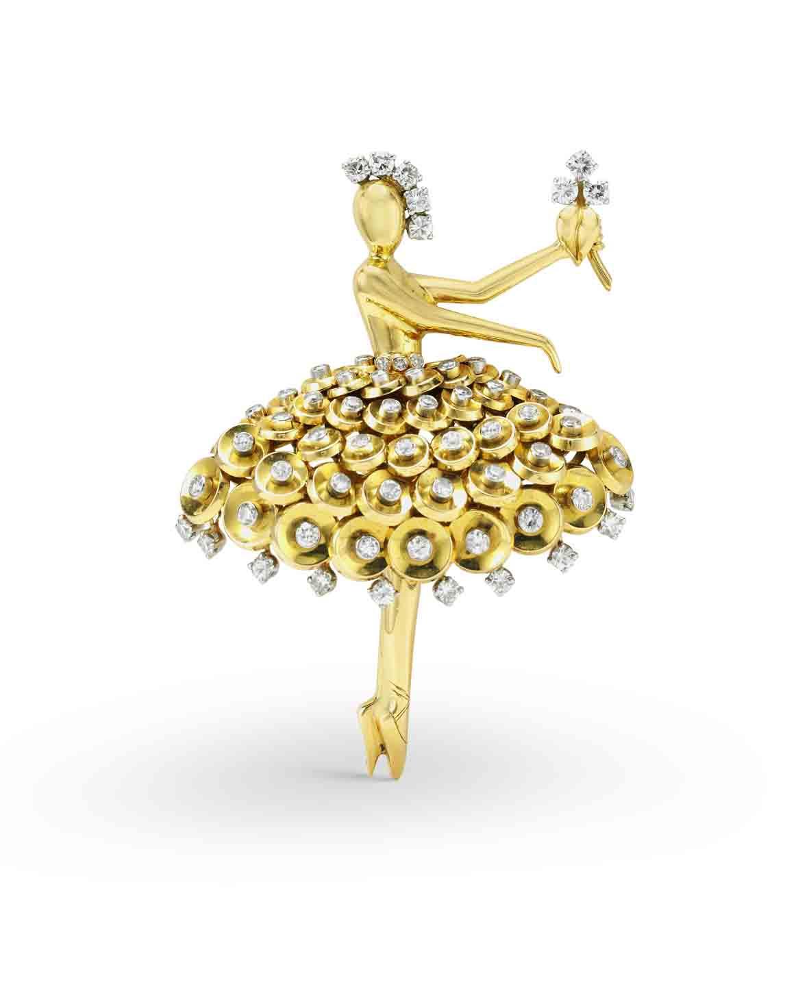 مشبك سيكوين باليرينا، 1953 ب اتين، ذهب أصفر، ذهب وردي، ل ذهب أبيض، ماس