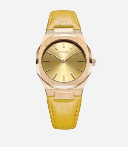 ساعة يد نسائية باللون الأصفر من دي وان ميلانو D1 Milano