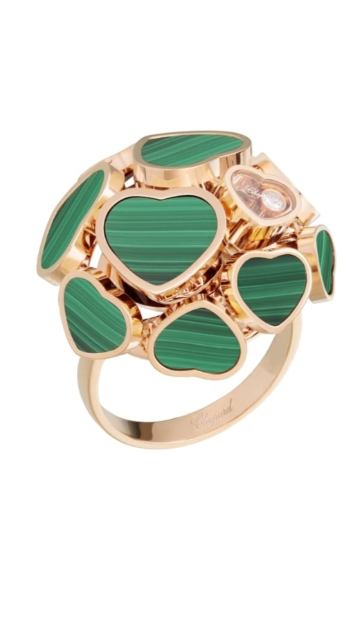 خاتم جذاب من الذهب الوردي والملكيت الأخضر من ماركة شوبارد Chopard