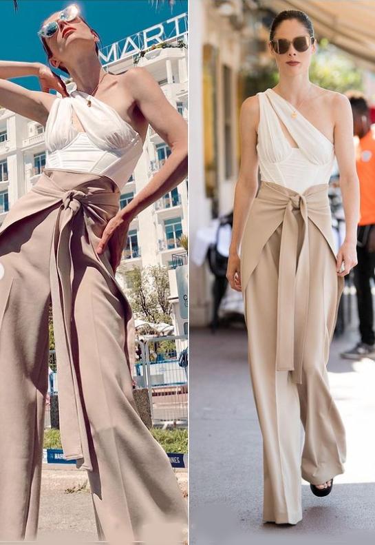 كوكو روشا ترتدي السروال الخردلي العالي مع بلوزة بكتف واحدة الصورة من حساب النجمة على انستغرام