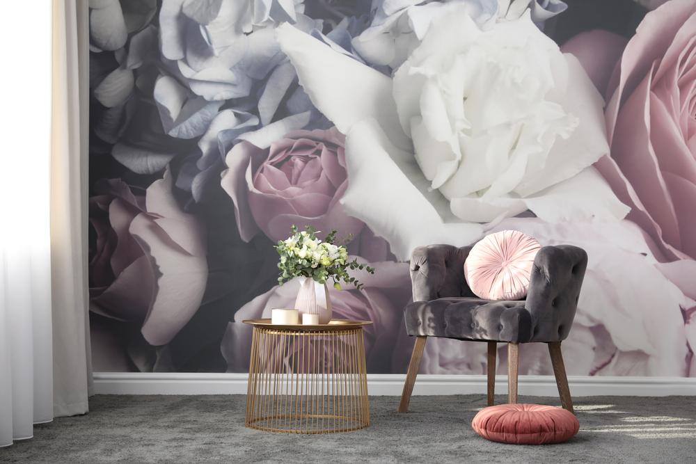 ورق الجدران في غرفة الجلوس الفخمة