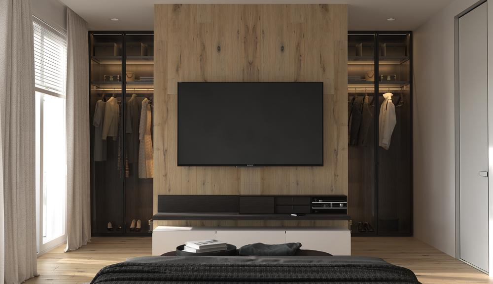 في غرفة النوم، ديكور مكان التلفزيون