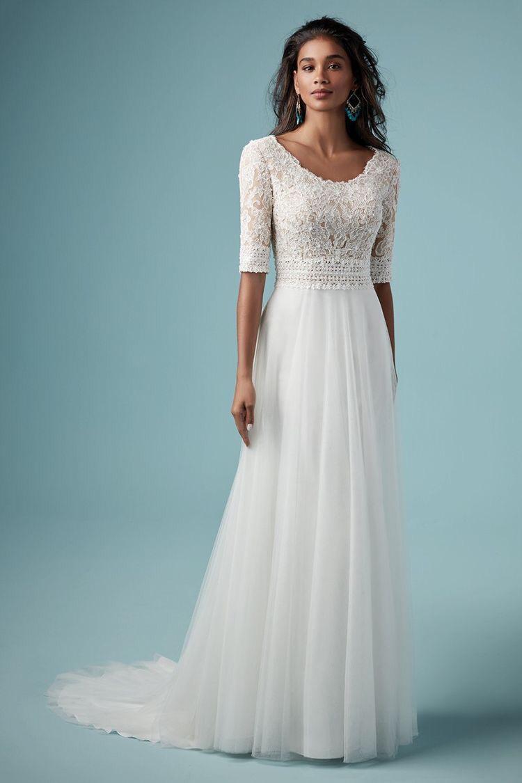 فستان زفاف ذو خصر منخفض وتنورة A line