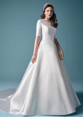 فستان ذو تنورة منفوشة وأكتاف عريضة
