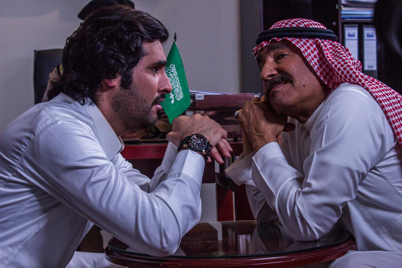 بدر اللحيد مع الفنان عبدالله السدحان في أحد الأعمال الفنية