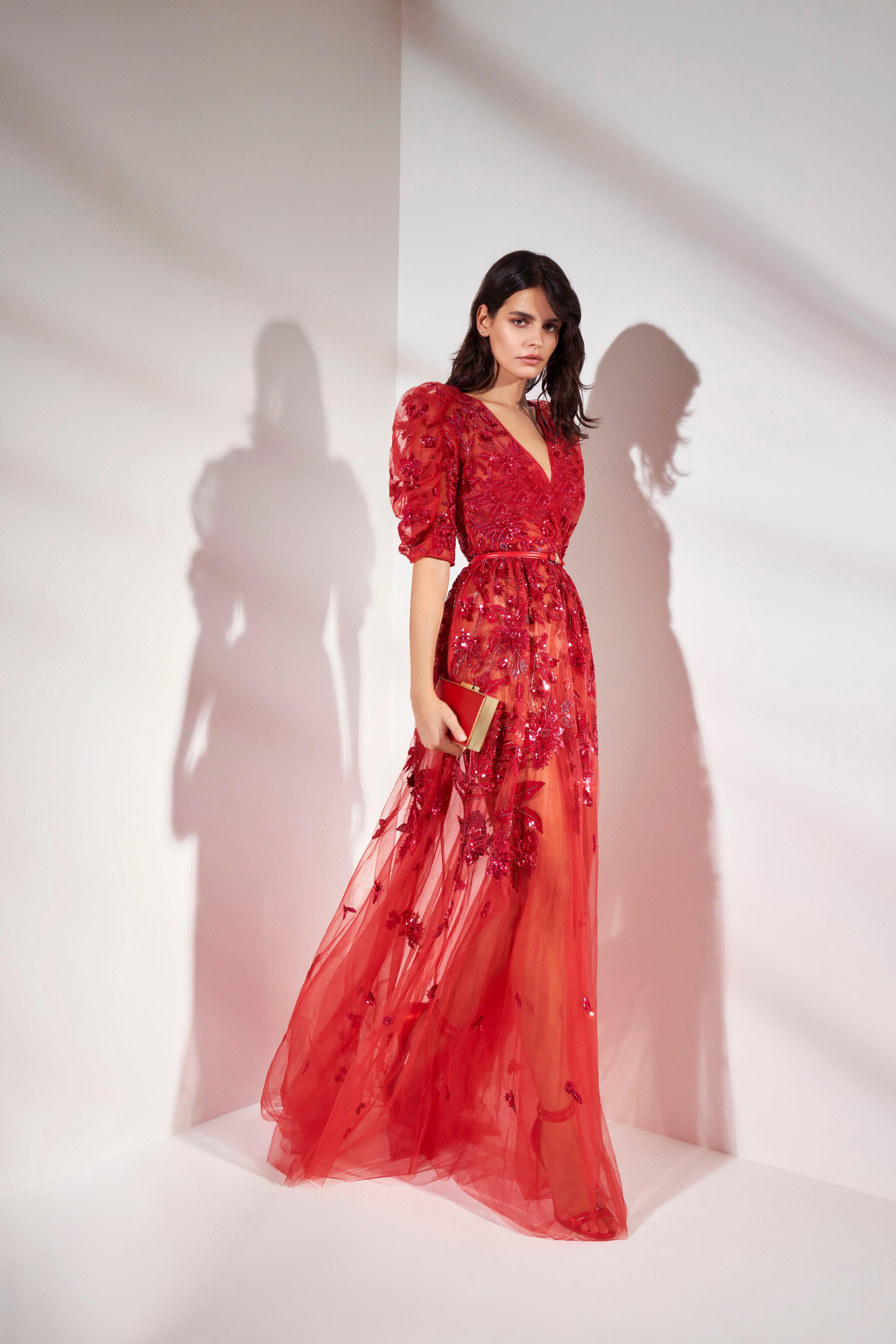 فستان سهرة أحمر بأكمام منفوخة من زهير مراد Zuhair Murad