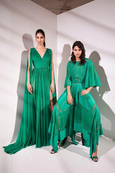 فستان سهرة طويل باللون الأخضر من زهير مراد zuhair Murad