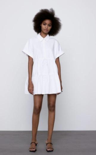 فستان أبيض قصير من Zara