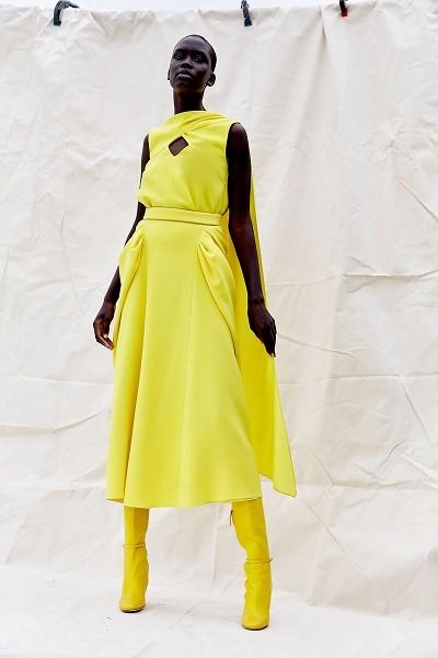 فستان سهرة باللون الأصفر وتصميم بسيط من روكساندا Roksanda