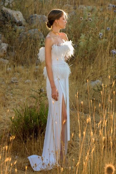 فستان سهرة أبيض من إيلي صعب Elie Saab