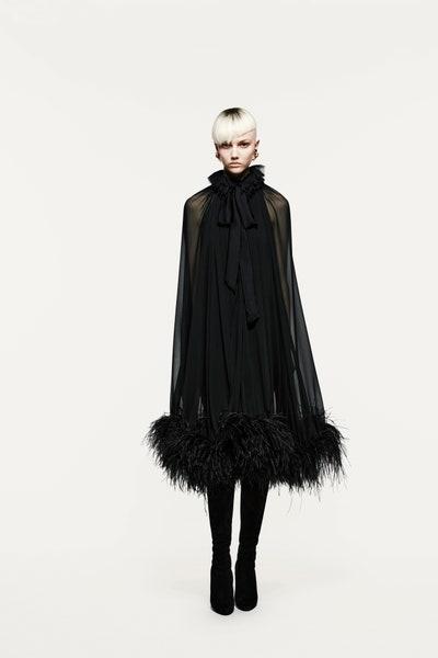 فستان سهرة من الشيفون والحرير الأسود من سان لوران Saint Laurent