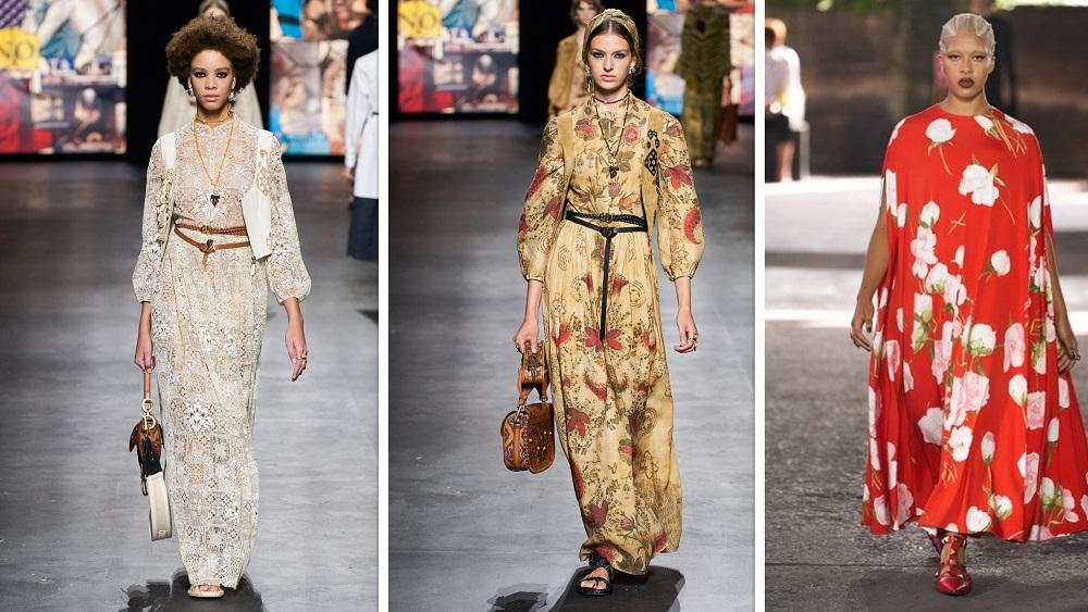 فساتين محتشمة بطبعات الورود من فالنتينو Valentino، لويس فويتون Louis Vuitton وكريستيان ديور Christian Dior