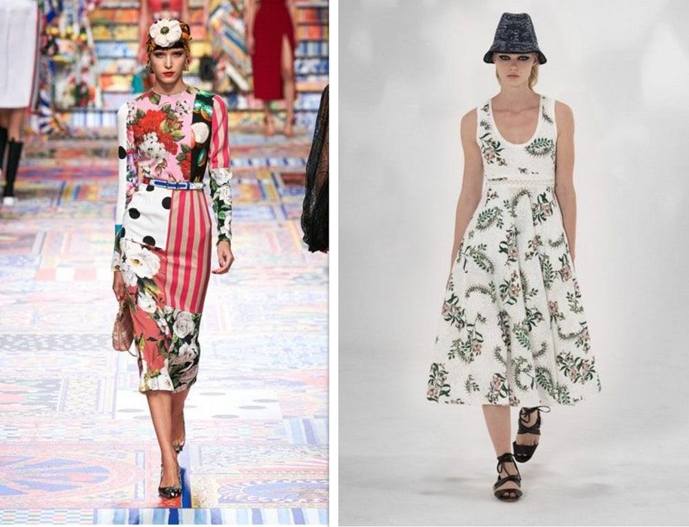 فساتين ميدي بطبعات الورود من جمباتيستا فالي Giambattista Valli  ودولتشي اند غابانا Dolce&Gabbana