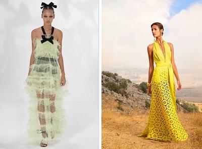 فساتين سهرة باللون الأصفر مع تنورة شفافة من إيلي صعب Elie Saab وجمباتيستا فالي Giambattista Valli