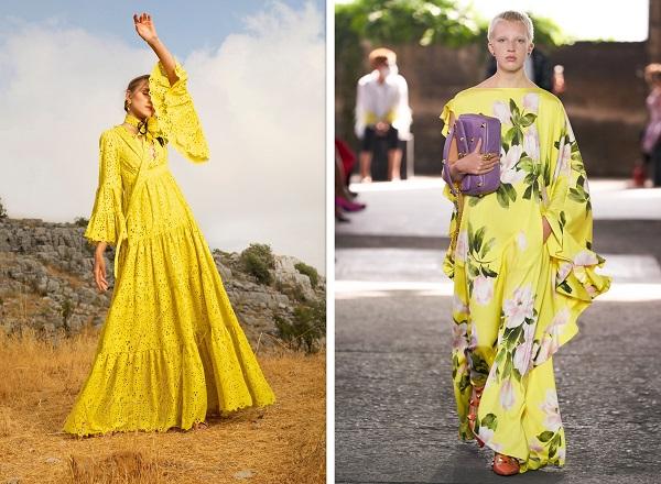 فساتين سهرة محتشمة باللون الأصفر من فالنتينو Valentino وإيلي صعب Elie Saab