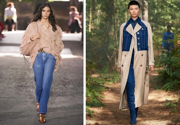 أزياء باللون الكاكي مع الدنيم من خلال معطف من بربري Burberry وبنطلون جينز وقميص من فالنتينو Valentino