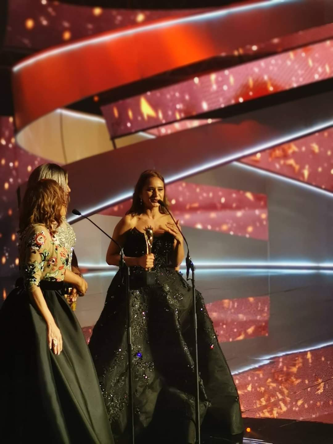 Nelly Karim receives her award at the last Murex d'Or ceremony - 2019 Photo from the Murex d'Or Festival.jpg