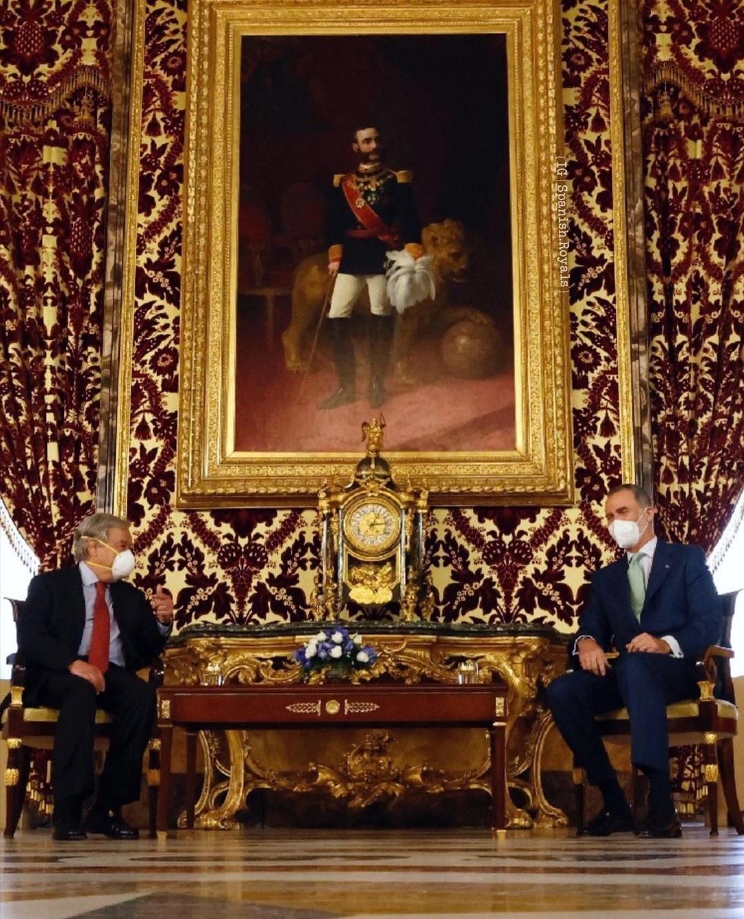 الملك فيليب السادس وأنطونيو غوتيريش- الصورة من حساب Spanish Royals على إنستغرام.jpg