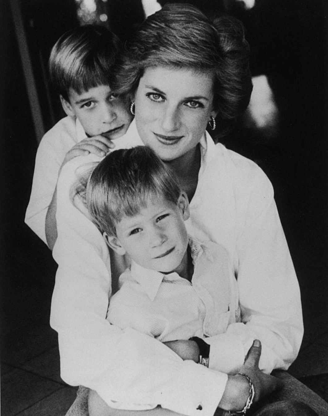 الأميرة ديانا تحتضن ابناءها ويليام وهاري- الصورة من حسابها على إنستغرام.jpg
