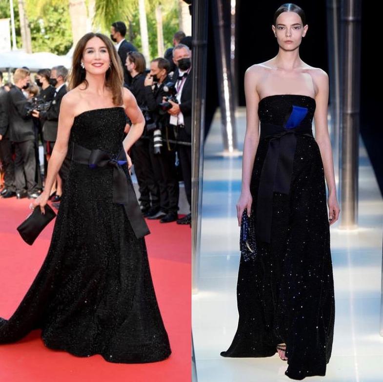 السا زلبيرشتاين في فستان مموج باللونين السود والازرق الليلي من ارماني بريفيه وتزينت بمجوهرات من بوشرون