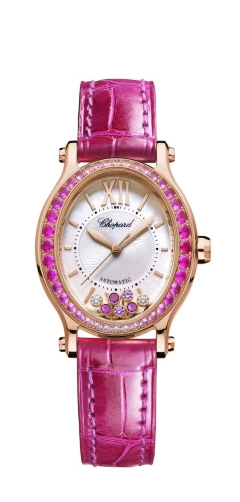 ساعة يد أنيقة باللون الزهري من علامة شوبارد Chopard