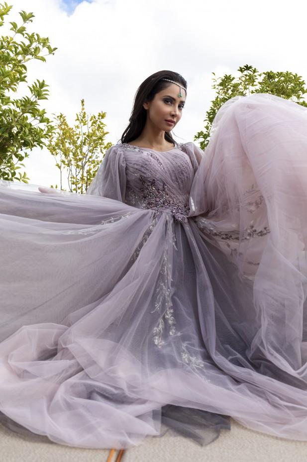 فستان سهرة بنفسجي فاتح من Christophe Guillarme-صورة 1