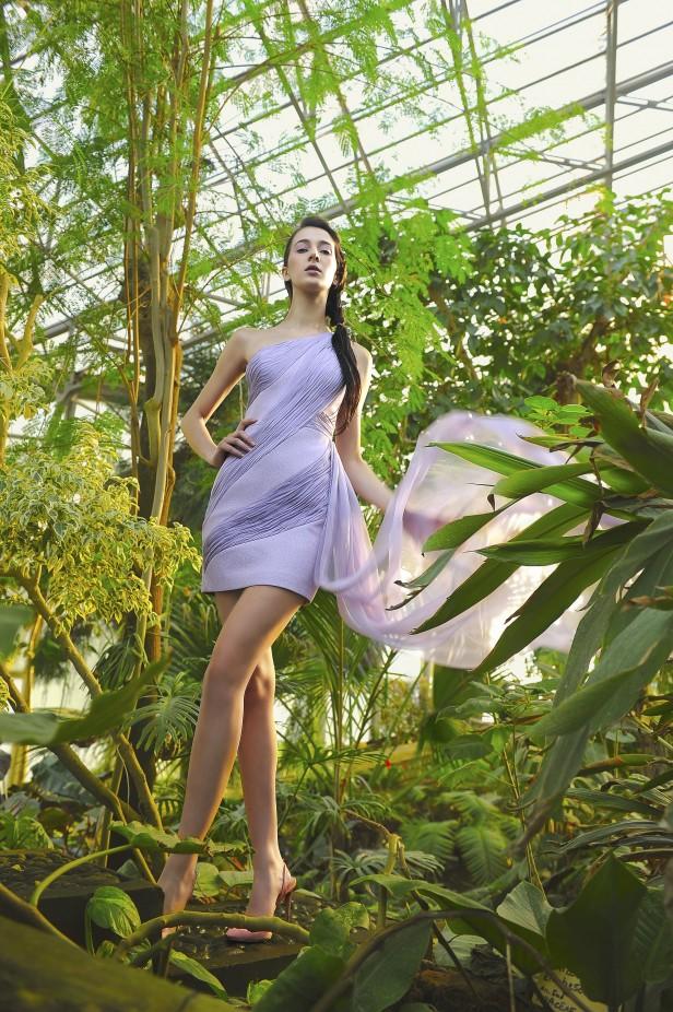 فستان سهرة بنفسجي فاتح من La Metamorphose-صورة 3