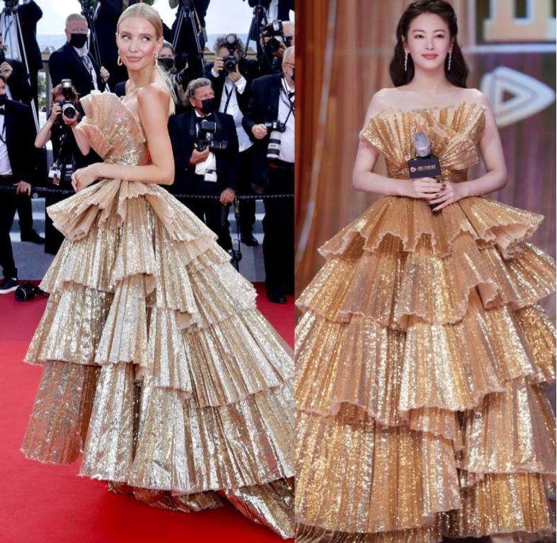 النجمتان ليوني هان وزانغ يوكي والفستان نفسه من جورج حبيقة الصورة من حساب فاشن_سيلبس_كريتيكس على انستغرام.