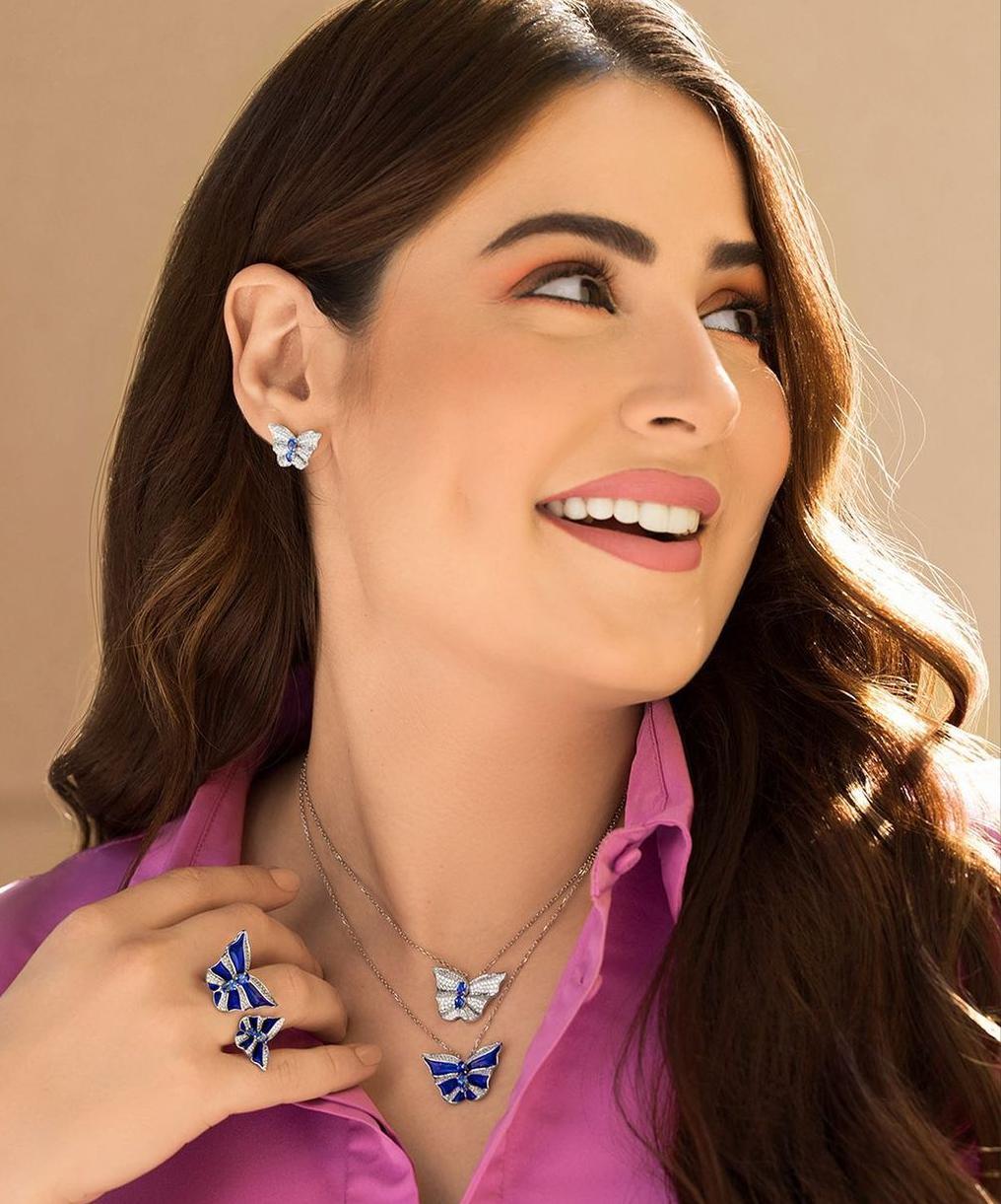 مجوهرات الفراشات الزرقاء من سمرة دبي Samra dubai