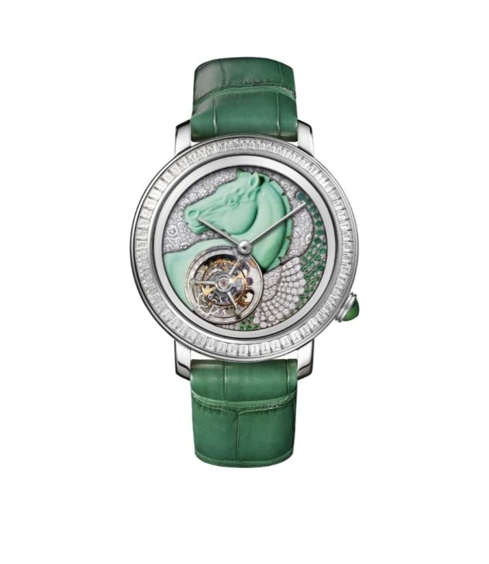 ساعة Tourbillon Pégase باللون الأخضر من علامة بوشرون Boucheron