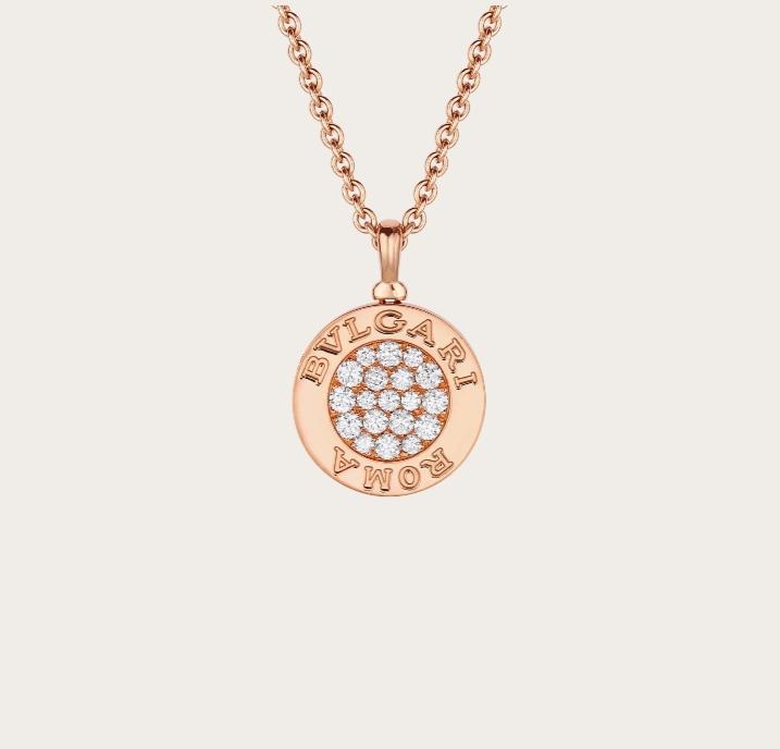 سلسلة جذابة بتصميم دائري بالذهب الوردي من دار بولغري Bvlgari