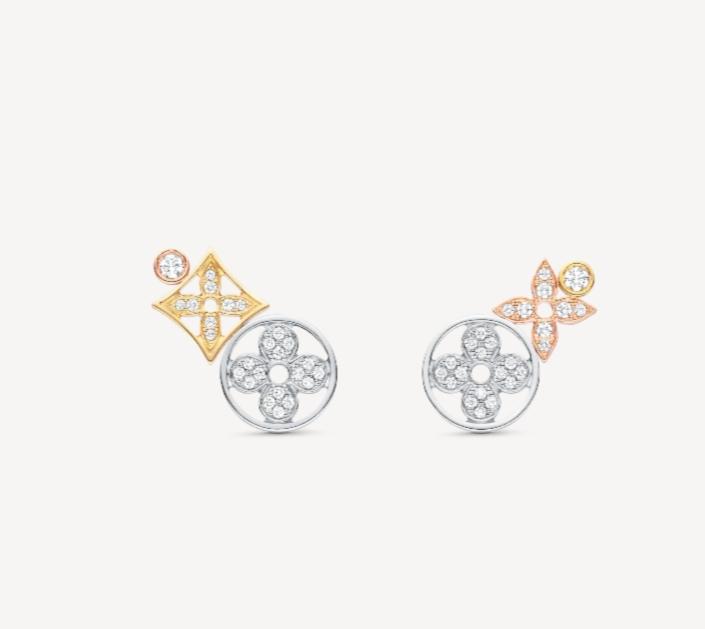 أقراط أذن بسيطة بالذهب الأصفر والأبيض من علامة لويس فيتون Louis Vuitton