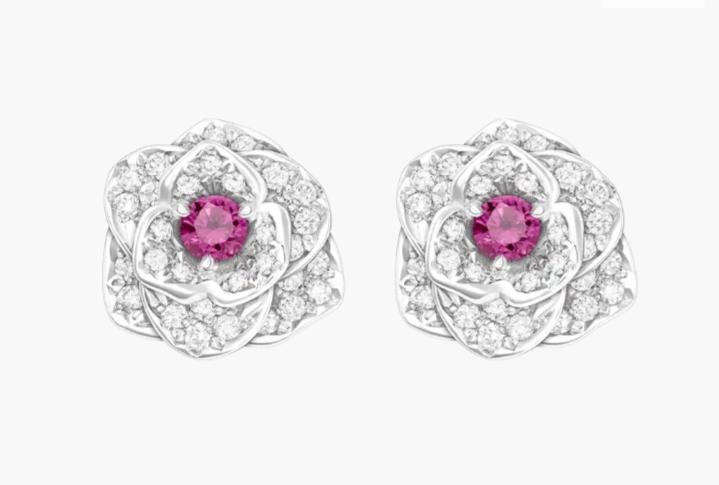 أقراط جذابة بالياقوت الوردي من علامة بياجيه Piaget