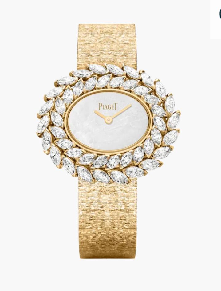 ساعة يد ذهب مرصّعة بعرق اللؤلؤ تليق بالعروس من ماركة بياجيه Piaget