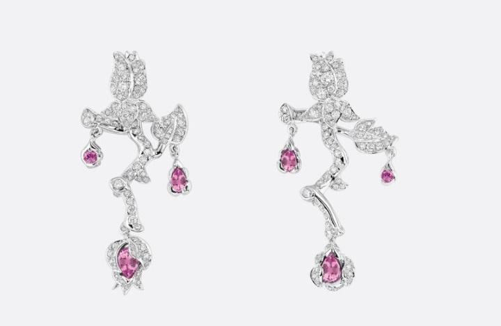 أقراط من الألماس والياقوت الوردي من ديور Dior