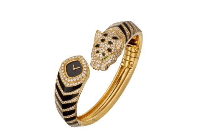 ساعة من الذهب الأصفر مرصعة بالألماس من كارتييه Cartier