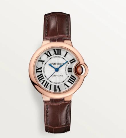 ساعة جلد باللون البني من كارتييه Cartier