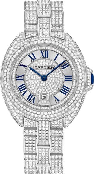 ساعة نسائية بمينا دائرية مرصعة بالألماس من كارتييه Cartier