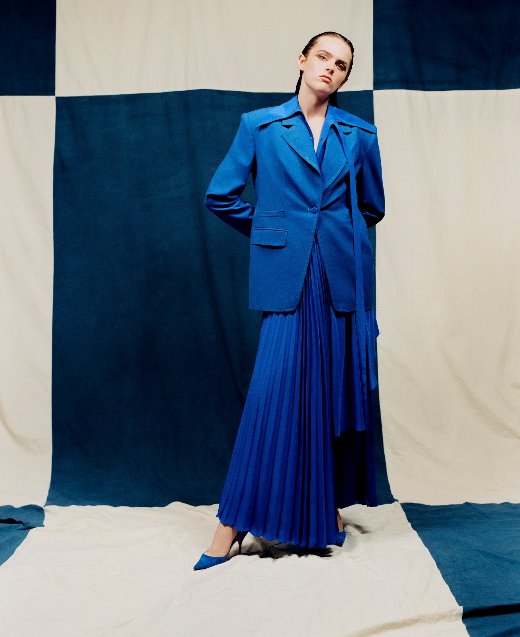 تنورة بليسيه طويلة باللون الأزرق من Christopher John Rogera