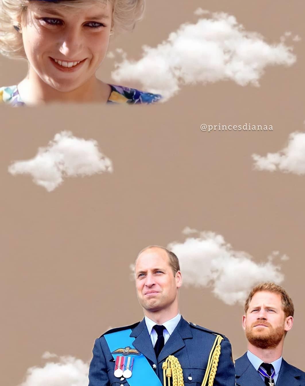 ويليام وهاري ومن أعلى ديانا- الصورة من حساب الأميرة ديانا على إنستغرام