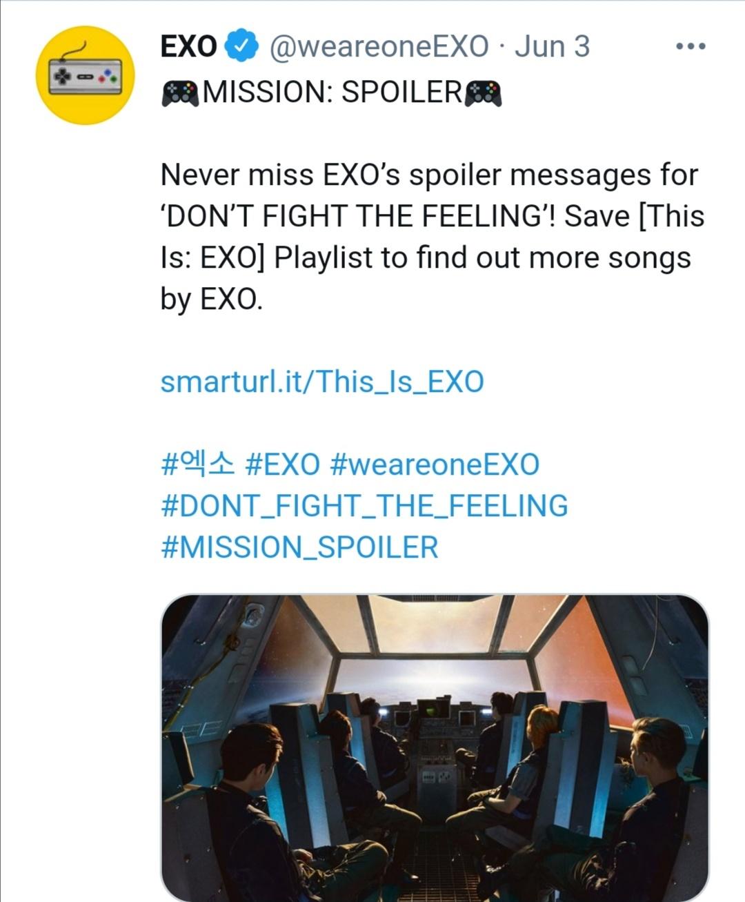 EXO يكشف عبر تويتر أغنيتهم الجديدة Don't Fight the Feeling- الصورة من حساب EXO على تويتر