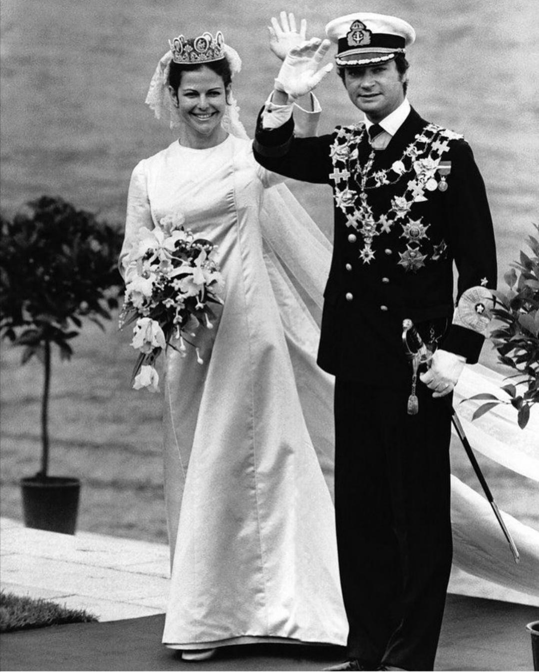 الملك كارل السادس عشر غوستاف والملكة سيلفيا سومرلاث- الصورة من حساب Eugenia garavani على إنستغرام