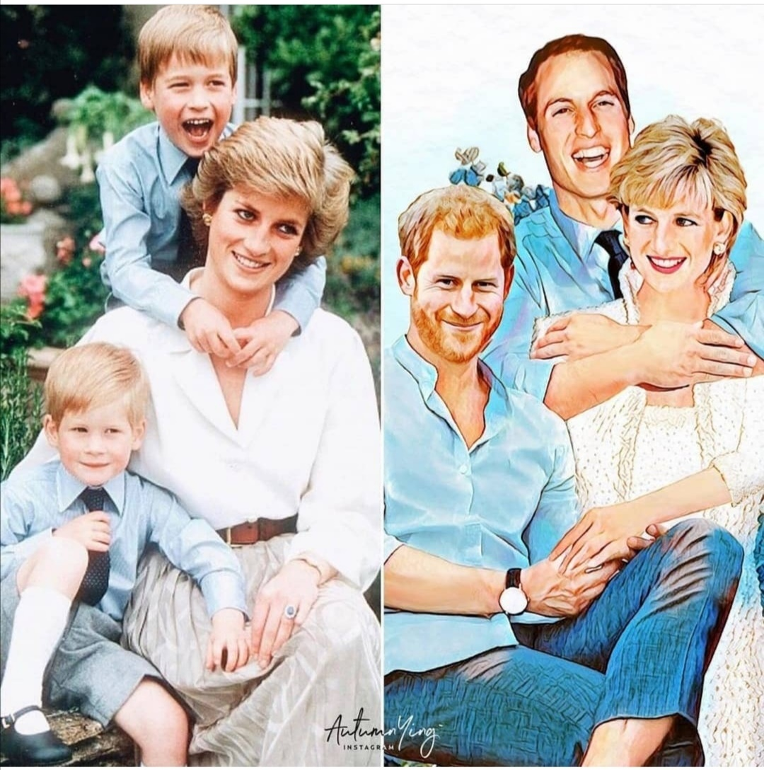 الأميرة ديانا مع ويليام وهاري- الصورة من حساب الأميرة ديانا على إنستغرام
