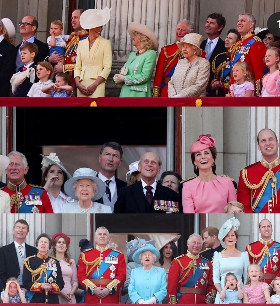 أفراد العائلة المالكة في شرفة قصر بكنجهام- الصورة من حساب all the royals of the world على إنستغرام