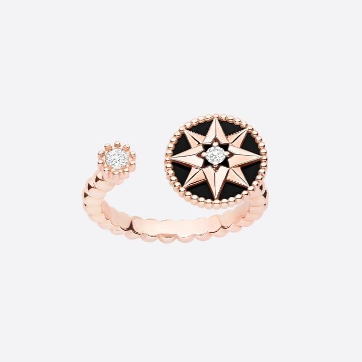 خاتم مفتوح بالذهب الوردي والأونيكس من ماركة ديور «Dior»
