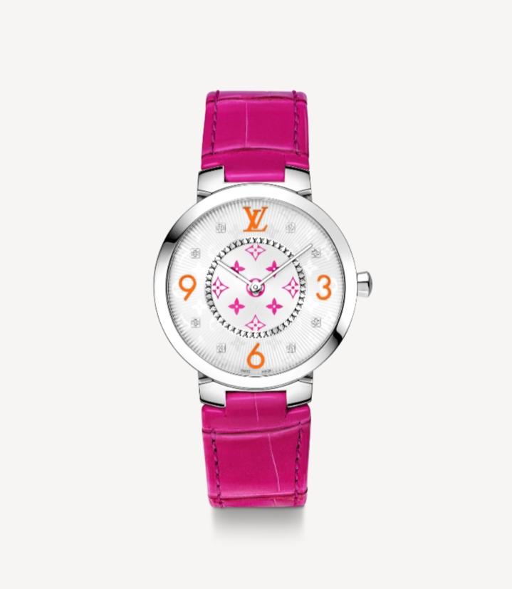 ساعة يد راقية باللون الزهري من ماركة لويس فيتون Louis Vuitton
