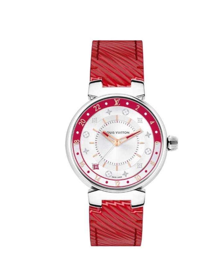 """ساعة يد جذابة باللون الأحمر من علامة لويس فيتون """"Louis Vuitton"""""""